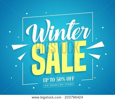 Winter sale vector banner design with sale up to 50% off in blue background for winter season marketing promotion. Vector illustration.