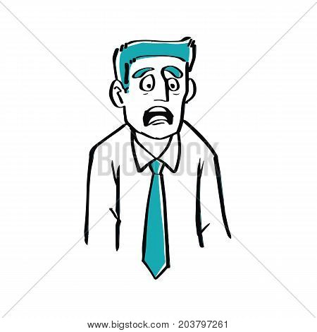 Hand drawn doodle style a businessman is afraid illustration vector business concept.