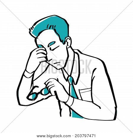 Hand drawn doodle style a businessman is worried illustration vector business concept.