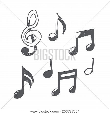 Freehand simple drawn Musical notes vector illustration sketch design.