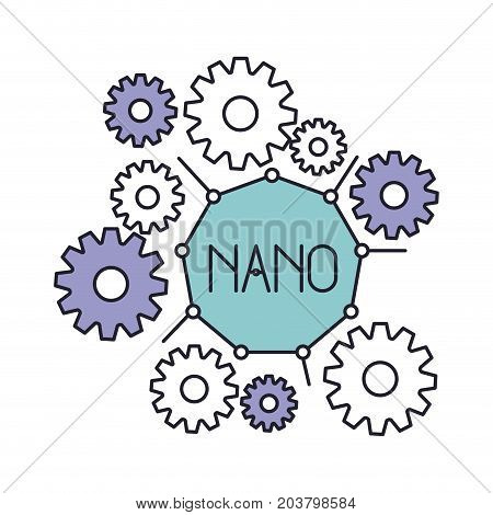 set gear machinery with nano text in center in color silhouette vector illustration