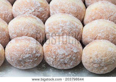 business bakery closeup fresh donut jam background