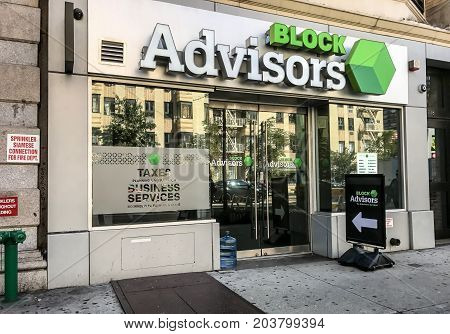 New York August 30 2017: Entrance to a tax preparation shop called Block Advisors in Manhattan.