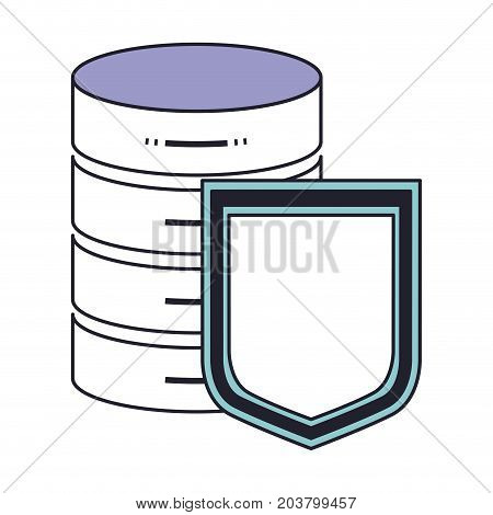 server hosting storage and protection shield icon in color section silhouette vector illustration