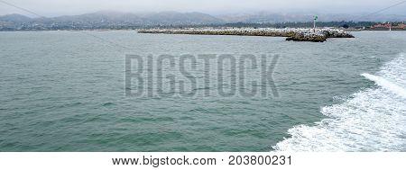 Panorama of Ventura and harbor as seen from ocean side San Buenaventura Southern California