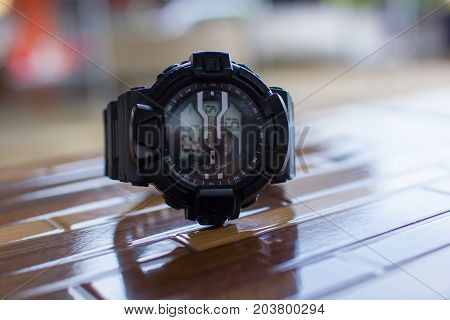 Black digital watch for outdoor activities sport