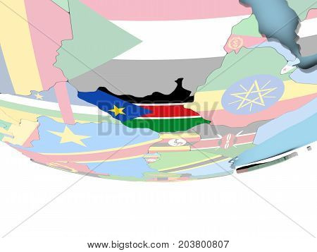 Map Of South Sudan With Flag On Globe