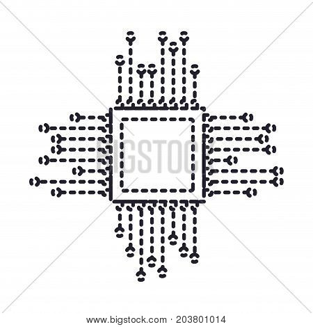 microchip icon in dotted silhouette vector illustration