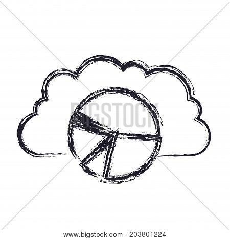 cloud storage data service icon and available space circular graphic in blurred silhouette vector illustration