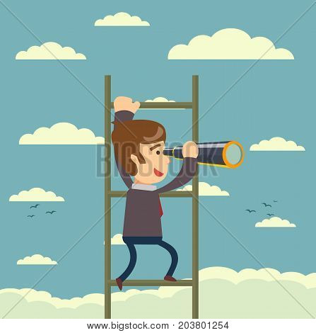 Businessman that looking through telescope far on a stair. Business concept. Vector illustration