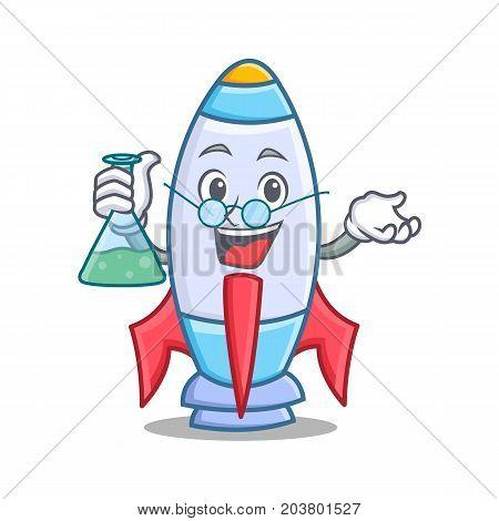 Professor cute rocket character cartoon vector illustration