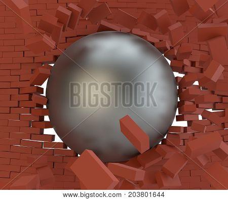 A metal ball broke the brick wall. Close-up. 3d illustration
