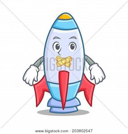 Silent cute rocket character cartoon vector illustration