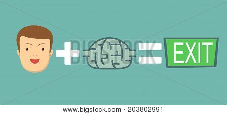 brains help to find a way out. Stock flat vector illustration.