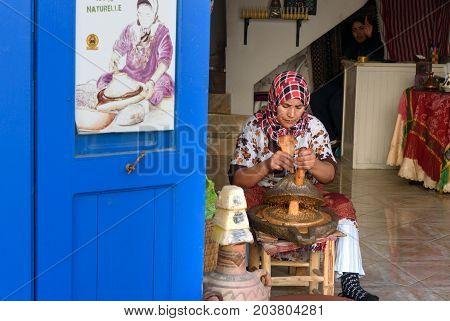 Moroccan Woman Make Argan Oil In Essaouira. Morocco