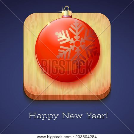 Greeting card Happy New Year. Red Christmas ball with a large snowflake on wooden background. Volumetric 3D icon with shadows and reflexes, 3D illustration.