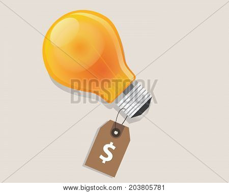 idea has a price tag dollar symbol of money label retail discount offer lamp bulb shine vector