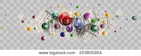 Bingo lotto lottery tickets and number balls splatter on vector transparent background for win luck game design template