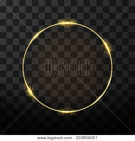 Vector Golden Frame With Glow Effect. Neon Circle Frame, Golden Ring And Glitter Effect On Transpare