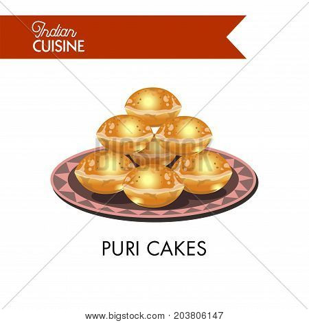 Puri cakes on plate with ornament isolated cartoon flat vector illustration on white background. Indian bread empty inside and covered with spicy sweet apple sauce. Bakery product from Indian cuisine.