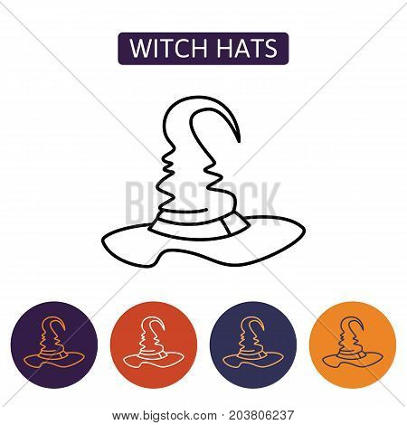 Halloween, hat icon. Witch hat with buckle isolated on white background. Design element for Halloween. Vector illustration in flat style for your design.