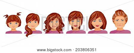 Age categories of women. Childhood adolescence adolescence maturity and old age. The aging process. Vector illustration