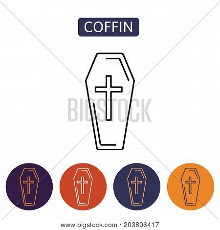 Coffin icon isolated on white background. Funeral ceremony symbol. Design element for Halloween. Vector illustration in flat style for your design.