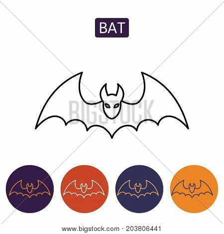 Bat icon for web. Isolated on white background. Soaring bat. Design element for Halloween. Vector illustration in flat style for your design.