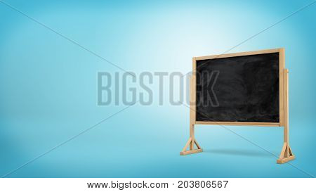 3d rendering of a single black chalkboard with white smudges stands on a wooden frame on blue background. Educational aids. Teaching and tutoring. Back to school.