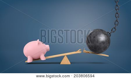 3d rendering of a wooden seesaw with a pink piggy bank and a wrecking ball that breaks the plank. Savings and investments. Personal finance. Devaluation and crisis.