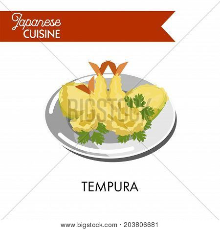 Delicious tempura made of king prawns with parsley on shiny plate isolated vector illustration on white background. Japanese dishes from fresh seafood and organic vegetables deep fried in butter.