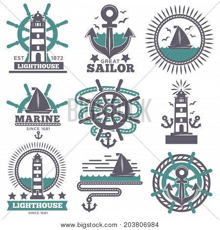 Marine and nautical logo templates or heraldic symbols. Vector isolated icons of ship anchor, helm and captain spyglass, sailing lighthouse or life buoy and sailboat trident or seafarer compass