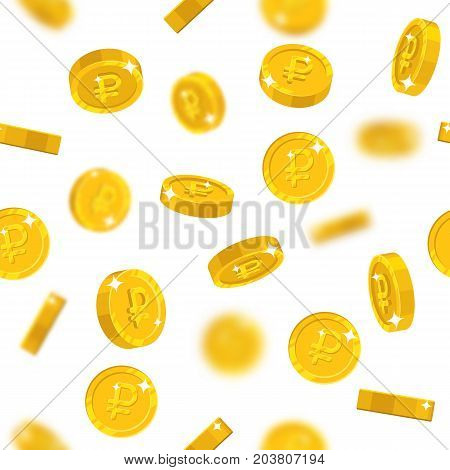 Flying gold rubles seamless pattern. Background of flying gold rubles as a pattern for designers and illustrators. Cover of floating gold pieces in the form of vector illustration
