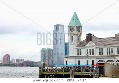 New York USA - 28 September 2016: Pier A Harbor House situated on the Hudson River at Battery Park Lower Manhattan. It is the last surviving historic pier in the city.