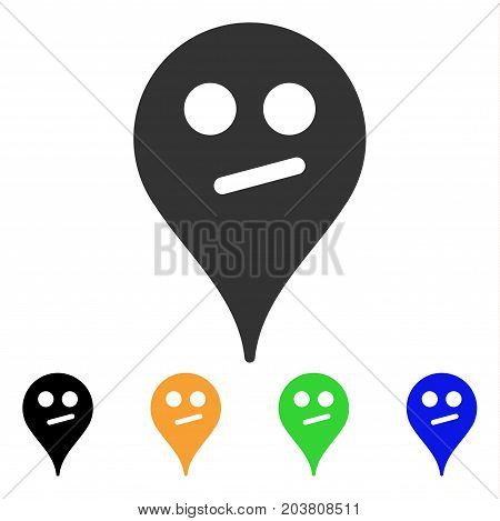 Doubt Smiley Map Marker icon. Vector illustration style is a flat iconic doubt smiley map marker symbol with black, gray, green, blue, yellow color variants. Designed for web and software interfaces.