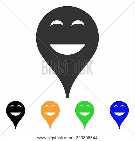 Happy Smiley Map Marker icon. Vector illustration style is a flat iconic happy smiley map marker symbol with black, gray, green, blue, yellow color variants. Designed for web and software interfaces.