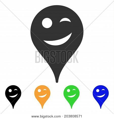 Joke Smiley Map Marker icon. Vector illustration style is a flat iconic joke smiley map marker symbol with black, grey, green, blue, yellow color versions. Designed for web and software interfaces.