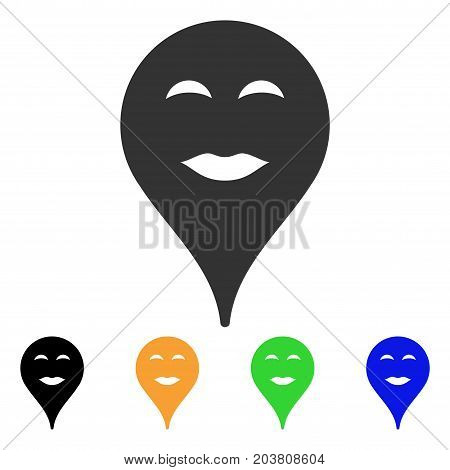 Lady Pleasure Smiley Map Marker icon. Vector illustration style is a flat iconic lady pleasure smiley map marker symbol with black, grey, green, blue, yellow color versions.