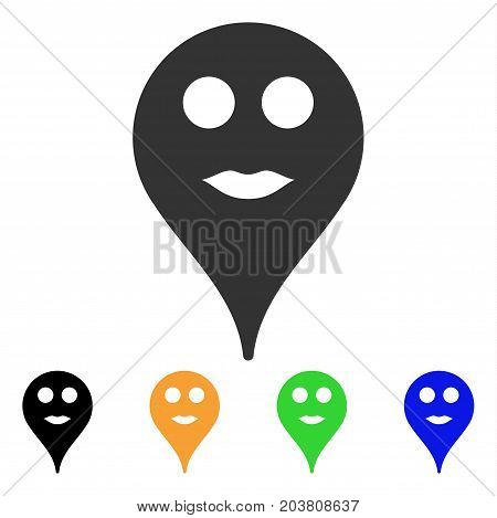 Lips Smiley Map Marker icon. Vector illustration style is a flat iconic lips smiley map marker symbol with black, gray, green, blue, yellow color versions. Designed for web and software interfaces.