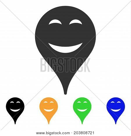 Pleasure Smiley Map Marker icon. Vector illustration style is a flat iconic pleasure smiley map marker symbol with black, grey, green, blue, yellow color versions.