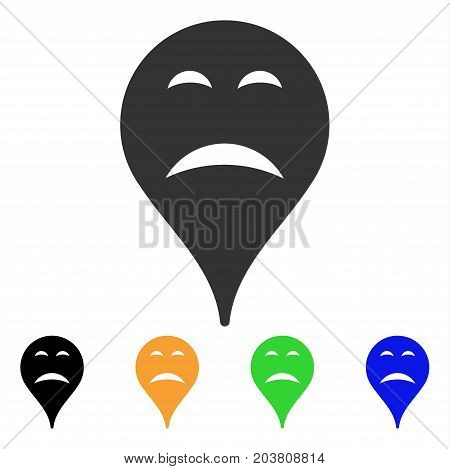 Sadness Smiley Map Marker icon. Vector illustration style is a flat iconic sadness smiley map marker symbol with black, grey, green, blue, yellow color variants.