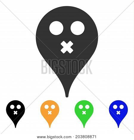 Silence Smiley Map Marker icon. Vector illustration style is a flat iconic silence smiley map marker symbol with black, gray, green, blue, yellow color versions.