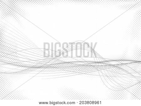 Modern abstract striped swoosh futuristic mild grey lines over white dotted halftone background. Elegant smooth speed gray wave stream. Vector illustration