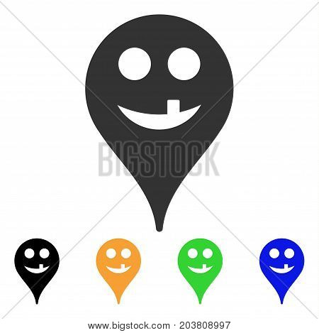 Tooth Smiley Map Marker icon. Vector illustration style is a flat iconic tooth smiley map marker symbol with black, grey, green, blue, yellow color variants. Designed for web and software interfaces.