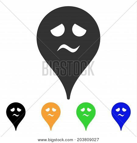 Trouble Smiley Map Marker icon. Vector illustration style is a flat iconic trouble smiley map marker symbol with black, gray, green, blue, yellow color variants.