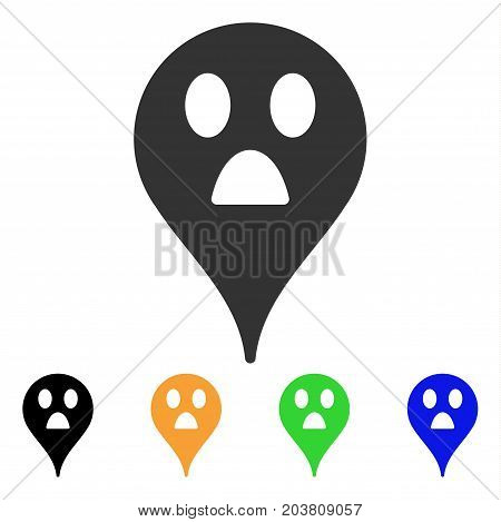 Wonder Smiley Map Marker icon. Vector illustration style is a flat iconic wonder smiley map marker symbol with black, grey, green, blue, yellow color versions.
