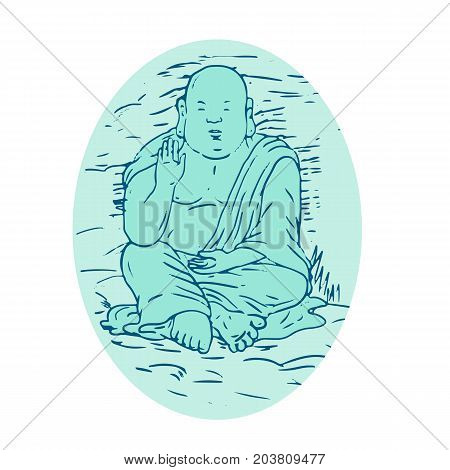 Drawing sketch style illustration of Gautama Buddha also known as Siddhartha Gautama Shakyamuni Buddha an ascetic and sage in lotus sitting pose set inside oval.
