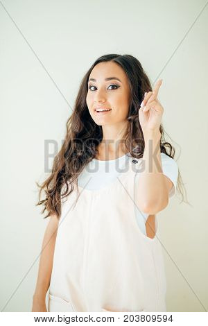 Portrait Of Cheerful Young Woman Showing Copyspace Visual Imaginary Or Something