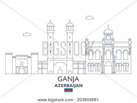 Ganja Linear City Skyline Azerbaijan. Famous place