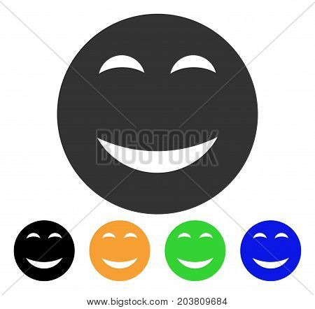 Happy Smiley icon. Vector illustration style is a flat iconic happy smiley symbol with black, grey, green, blue, yellow color variants. Designed for web and software interfaces.